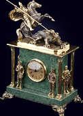 Часы каминные на камне «Георгий Победоносец»