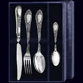 Набор столового серебра «Престиж» с чернением из 4 предметов