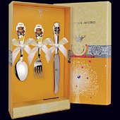 Набор детского серебра «Мишка» (ложка, вилка и нож)