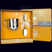 Набор детского серебра «Звезда» частично позолоченный из кружки и ложки