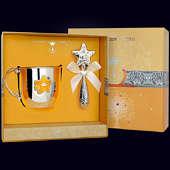 Набор детского серебра «Звезда» с эмалью (кружка+погремушка)