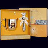 Набор детского серебра «Медведь» (кружка+погремушка)