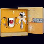 Набор детского серебра «Сердце» (поильник+погремушка)