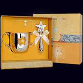 Набор детского серебра «Звезда» с эмалью (поильник+погремушка)