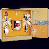 Набор детского серебра «Сердце» (кружка, ложка и погремушка)