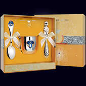 Набор детского серебра «Принц» (кружка, ложка и погремушка)