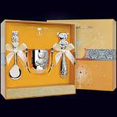 Набор детского серебра «Мишутка» (поильник, ложка и погремушка)