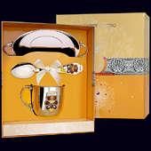 Набор детского серебра «Мишка» с эмалью (блюдце, ложка и кружка)