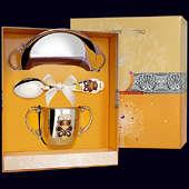 Набор детского серебра «Мишка» (блюдце, ложка и поильник)