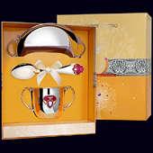 Набор детского серебра «Принцесса» КД ч/п с эмалью (блюдце, ложка и поильник)