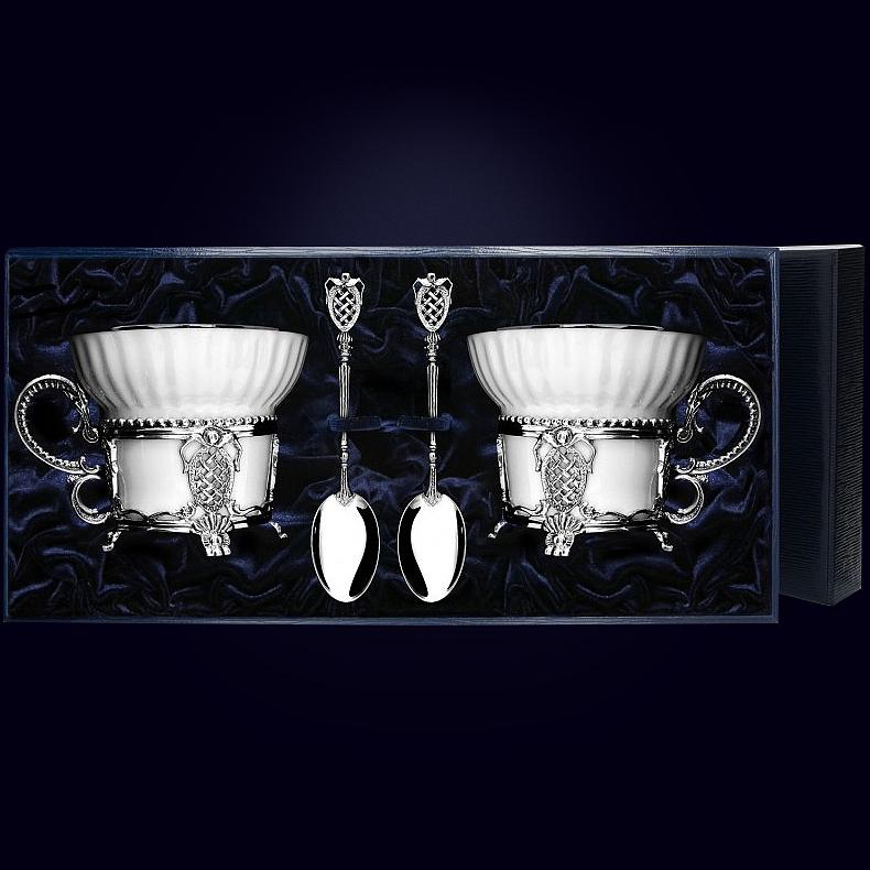 Серебряная чайная пара «Меценат» с ложками