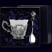 Серебряная чайная чашка «Королевская охота» с чернением с ложкой