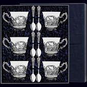 Серебряный чайный набор на 6 персон «Королевская охота»