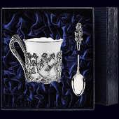 Серебряная кофейная чашка «Роза» с ложкой