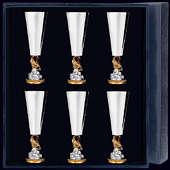 Набор рюмок «Золотая Рыбка» с позолотойиз 6-ти предметов