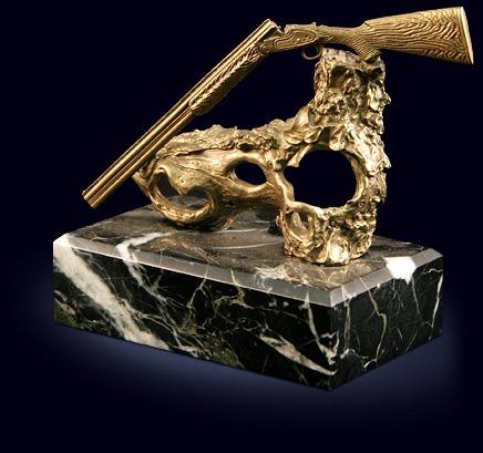 Сувенир «Ружьё на коряге» из латуни