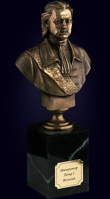 Бюст «Пётр Великий» из латуни на камне