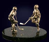 Сувенир «Хоккеисты» из латуни