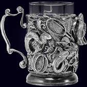 Подстаканник «Рыбалка Трофейный» из латуни