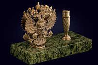 Визитница с гербом России из латуни и змеевика