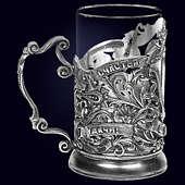 Подстаканник «Юбилейный 40» из латуни с серебрением
