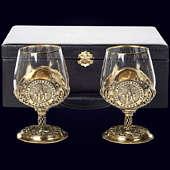 Набор из 2 бокалов «Собор Василия Блаженного» из латуни в VIP-футляре