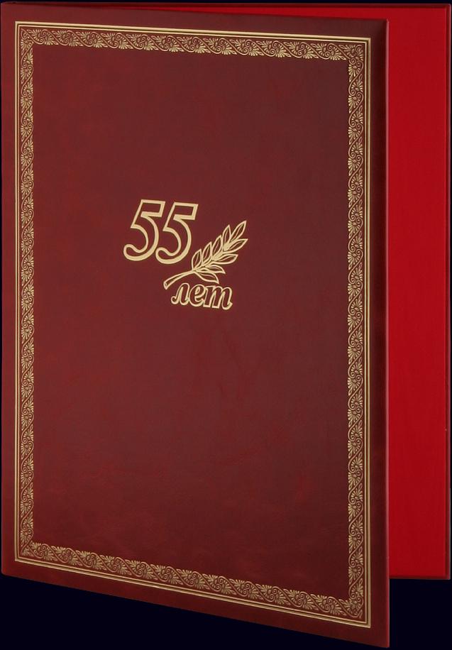 Адресная папка «55 лет» с тиснением золотой фольгой