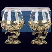 Набор из 2 бокалов «Рыбалка (Жерех и Судак)» из латуни