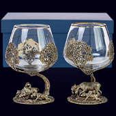 Набор из 2 бокалов «Охота (Кабан и Лось)» из латуни