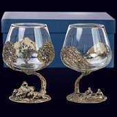 Набор из 2 бокалов «Охота (Кабан и Рыбаки)» из латуни