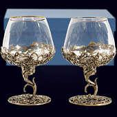 Набор из 2 бокалов «Ажурный» из латуни