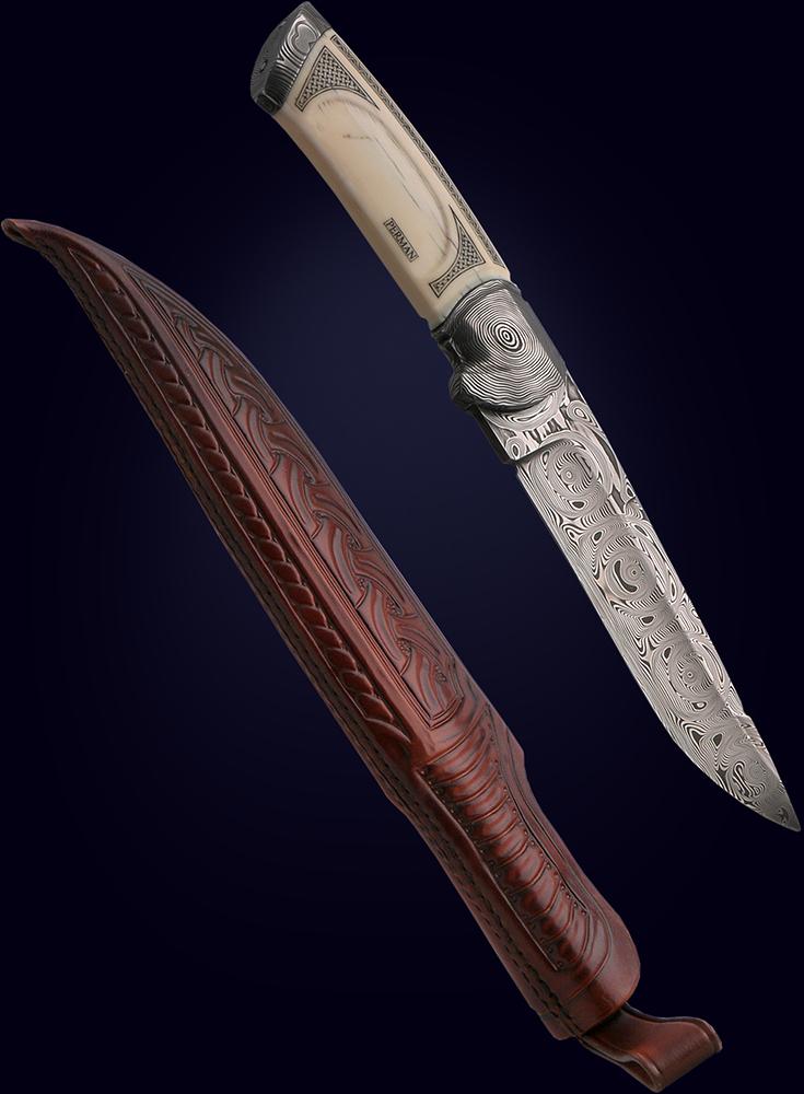 Нож из дамаска c рукоятью из бивня мамонта