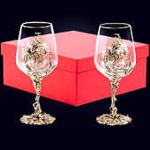 Набор из 2 бокалов «Цветок» из латуни