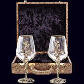 Набор из 2 бокалов «Виноград» из латуни в VIP-футляре