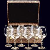 Набор из 6 бокалов «Виноград» из латуни в VIP-футляре