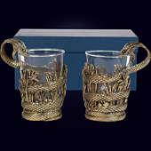 Набор из 2 стаканов «Змей» из латуни