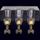 Набор из 3 лафитников «Ампир» из латуни в VIP-футляре