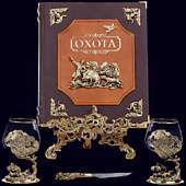 Книга «Охота Элит в наборе с бокалами для коньяка Медведь + нож»