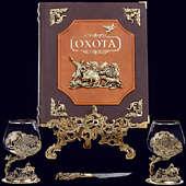 Книга «Охота Элит в наборе с бокалами для коньяка Кабан + нож»