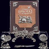 Книга «Охота Элит в наборе с бокалами для коньяка Кабан-Медведь + нож»