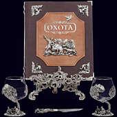 Книга «Охота Элит в наборе с бокалами для коньяка Охотники на привале + нож»