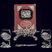 Книга «Русская охота Л.П. Сабанеев в наборе с бокалами для коньяка Медведь + нож»