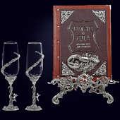Книга «Вино и еда краткий курс для гурманов в наборе с винными бокалами Ангел»
