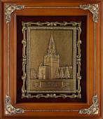 Панно из меди в деревянной раме «Спасская башня»