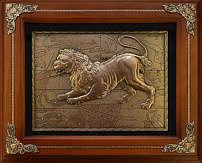 Панно из меди на стену «Лев»