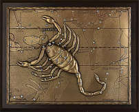 Панно из меди на стену «Скорпион»  25 см
