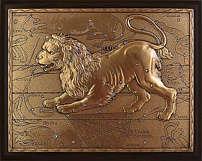 Панно из меди на стену «Лев» 25 см