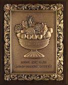 Настенное панно из меди на деревянной подложке «Чаша Изобилия»