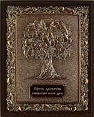 Панно из меди на деревянной подложке «Дерево Изобилия»