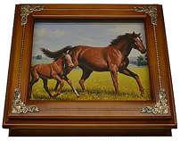 Деревянная ключница «Лошади»